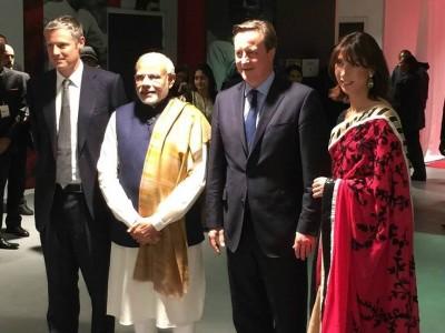 Prime Minister David Cameron, Samantha Cameron with PM Norendra Modi